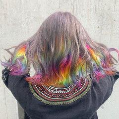 インナーカラー ストリート ボブ ユニコーンカラー ヘアスタイルや髪型の写真・画像