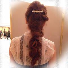 パーティ 編み込み コンサバ ヘアアクセ ヘアスタイルや髪型の写真・画像