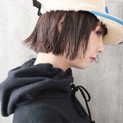 ストレート 透明感カラー 切りっぱなしボブ 外国人風カラー ヘアスタイルや髪型の写真・画像