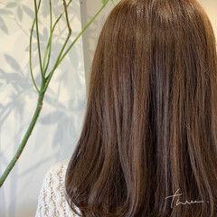 前髪パーマ セミロング 毛先パーマ ワンカールパーマ ヘアスタイルや髪型の写真・画像