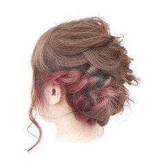 フィッシュボーン インナーカラー フェミニン ミディアム ヘアスタイルや髪型の写真・画像