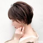 外国人風カラー ココアブラウン 簡単スタイリング ショートヘア