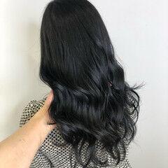 ロング ネイビーブルー 大人ロング 透明感カラー ヘアスタイルや髪型の写真・画像