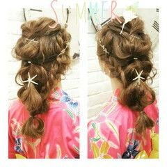 ヘアアレンジ 花火大会 夏 ロング ヘアスタイルや髪型の写真・画像