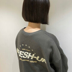 切りっぱなしボブ ナチュラル ショートボブ ショートヘア ヘアスタイルや髪型の写真・画像