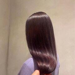 ロング ラベンダーピンク パープル フェミニン ヘアスタイルや髪型の写真・画像