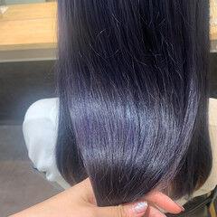 ストリート セミロング ブルーラベンダー ヘアスタイルや髪型の写真・画像