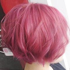 ガーリー ボブ ピンク ピンクラベンダー ヘアスタイルや髪型の写真・画像