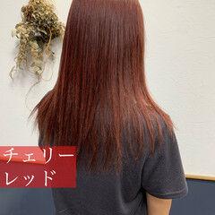 カシスレッド レッド レッドカラー チェリーレッド ヘアスタイルや髪型の写真・画像