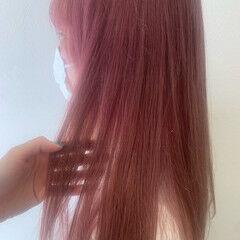 ピンクラベンダー ピンクベージュ ガーリー ピンクカラー ヘアスタイルや髪型の写真・画像