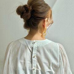セルフヘアアレンジ ナチュラル ロング お団子 ヘアスタイルや髪型の写真・画像