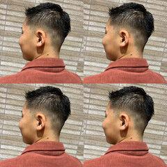刈り上げ メンズカット アップバング ショート ヘアスタイルや髪型の写真・画像