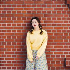 ポニーテールアレンジ フェミニン ヘアアレンジ セミロング ヘアスタイルや髪型の写真・画像