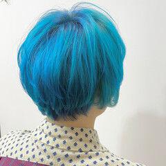 ブルー ハイトーン ハイトーンカラー 派手髪 ヘアスタイルや髪型の写真・画像