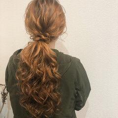 ロング ねじり フェミニン ポニーテール ヘアスタイルや髪型の写真・画像