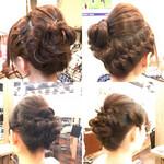 エレガント 編み込み まとめ髪 ヘアアレンジ