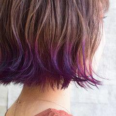 ボブ ガーリー 裾カラー ピンクパープル ヘアスタイルや髪型の写真・画像