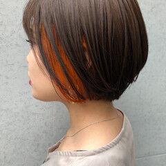 インナーカラーオレンジ 小顔ヘア 女っぽヘア インナーカラー ヘアスタイルや髪型の写真・画像