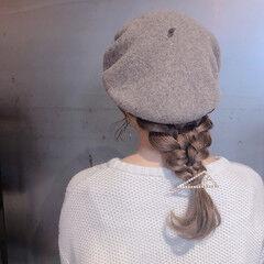 編み込み セミロング ヘアアレンジ 簡単ヘアアレンジ ヘアスタイルや髪型の写真・画像
