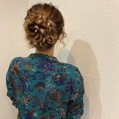 フェミニン 和装 アップスタイル 花 ヘアスタイルや髪型の写真・画像