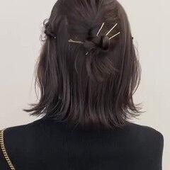 簡単ヘアアレンジ ナチュラル ヘアアレンジ ゴールドピン ヘアスタイルや髪型の写真・画像