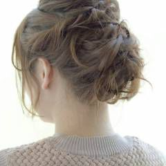 編み込み ニット ヴェール 簡単ヘアアレンジ ヘアスタイルや髪型の写真・画像