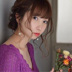 ミディアム ヘアアレンジ エレガント デート ヘアスタイルや髪型の写真・画像