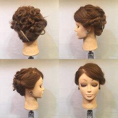 上品 セミロング 結婚式 ねじり ヘアスタイルや髪型の写真・画像
