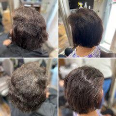 髪質改善トリートメント ボブ ショートヘア 切りっぱなしボブ ヘアスタイルや髪型の写真・画像