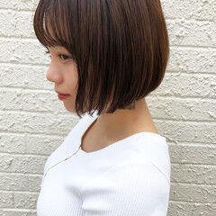 切りっぱなしボブ ストレート インナーカラー ミニボブ ヘアスタイルや髪型の写真・画像