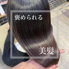 ミディアム ナチュラル 髪質改善トリートメント 美髪 ヘアスタイルや髪型の写真・画像