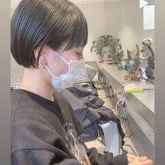 ニュアンスヘア ミニボブ ショートヘア 小顔ショート ヘアスタイルや髪型の写真・画像