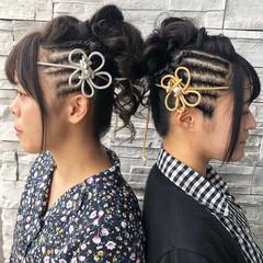 ヘアアレンジ ロング コーンロウ お祭り ヘアスタイルや髪型の写真・画像