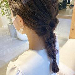 編みおろしヘア 結婚式ヘアアレンジ ヘアアレンジ ミディアム ヘアスタイルや髪型の写真・画像