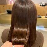 ナチュラル セミロング 髪質改善カラー n.