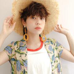 麦わら帽子 ショートヘア ショート 小顔ショート ヘアスタイルや髪型の写真・画像