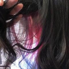 セミロング アッシュ ピンク デート ヘアスタイルや髪型の写真・画像