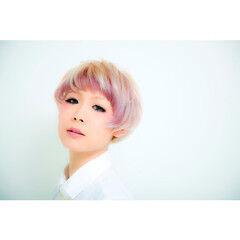 マッシュ ショート ピンク パープル ヘアスタイルや髪型の写真・画像
