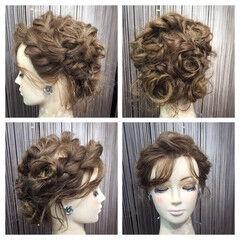 後れ毛 編み込み 結婚式 セミロング ヘアスタイルや髪型の写真・画像