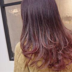 ゆるふわ 冬 セミロング ベリーピンク ヘアスタイルや髪型の写真・画像