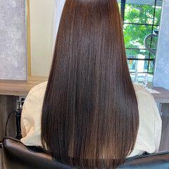 ココアブラウン ロング 髪質改善トリートメント 艶髪 ヘアスタイルや髪型の写真・画像
