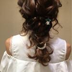セミロング 結婚式 編み込み ヘアアレンジ