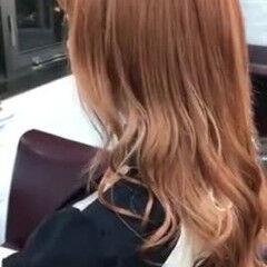 モテ髪 アプリコットオレンジ ロング オレンジカラー ヘアスタイルや髪型の写真・画像