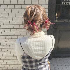 ツインお団子 ガーリー ヘアアレンジ セミロング ヘアスタイルや髪型の写真・画像