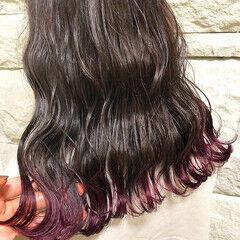 原宿 ブリーチ ロング ピンクバイオレット ヘアスタイルや髪型の写真・画像