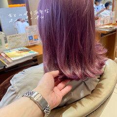 ガーリー 切りっぱなしボブ 透明感カラー ミディアム ヘアスタイルや髪型の写真・画像