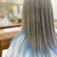 ロング デザインカラー ストリート バレイヤージュ ヘアスタイルや髪型の写真・画像