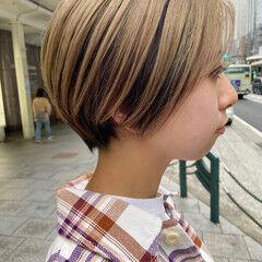 ショートボブ 大人ショート ブリーチ ナチュラル ヘアスタイルや髪型の写真・画像