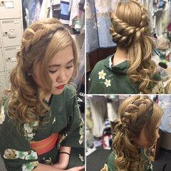 和装 サイドアップ フェミニン セミロング ヘアスタイルや髪型の写真・画像