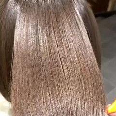 ボブ ナチュラル 最新トリートメント 縮毛矯正 ヘアスタイルや髪型の写真・画像